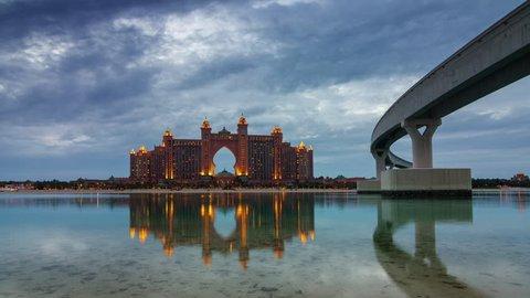 sunset dubai world famous hotel bay panorama 4k time lapse uae