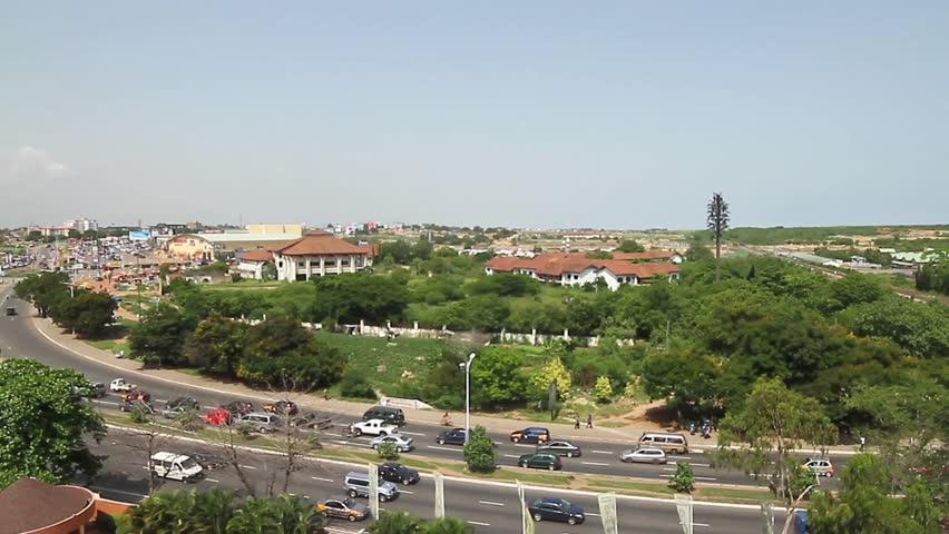African City, Ghana, Pan from sky