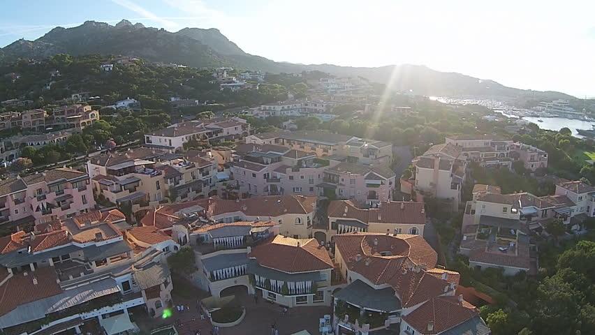 Mediterranean houses in Sardinia, olbia. aerial view    Shutterstock HD Video #11562959
