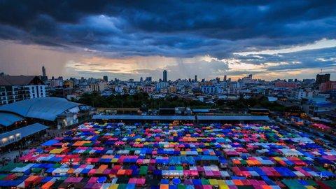 Time Lapse Popular market  Night market at Bangkok Thailand. 4k