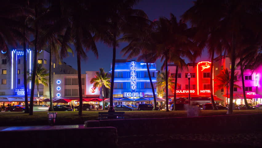 Miami Ocean Drive At Night Stock Video Footage 4k And Hd Clips Shutterstock