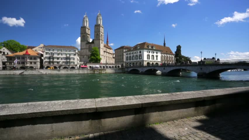 Slow motion. Panorama of Zurich city, Switzerland. Zurich city is home to a large number of financial institutions and banking giants.   Shutterstock HD Video #11616029