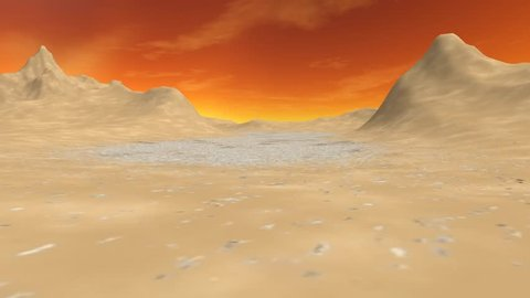 Desert, a beautiful animation, a dirt road among the mountains, also there are some tree under the orange sky.