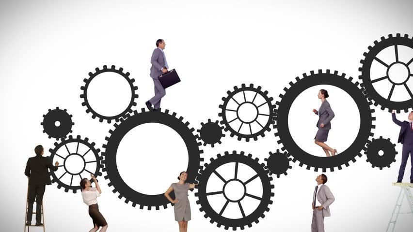 Business Man Build Success Gear Team Work Concept Design