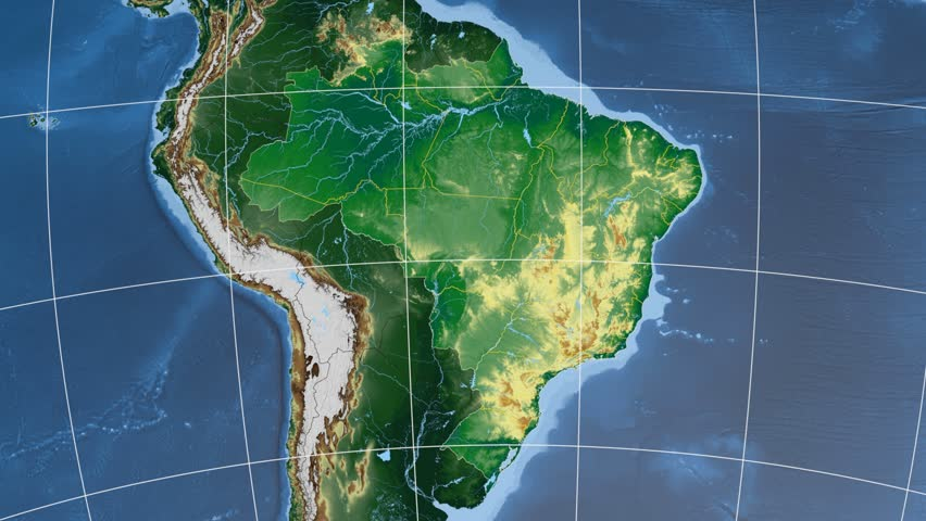 Pernambuco Region Extruded On The Physical Map Of Brazil Rivers