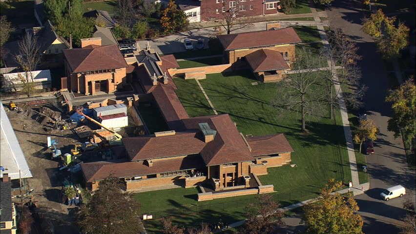aerial united states-darwin d martin house 45 2008 stock footage