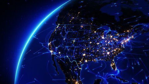 Earth bright connections and city lights. US. Aerial, maritime and ground routes. State and country borders. Blue. Images courtesy of http://www.nasa.gov. More options in my portfolio.