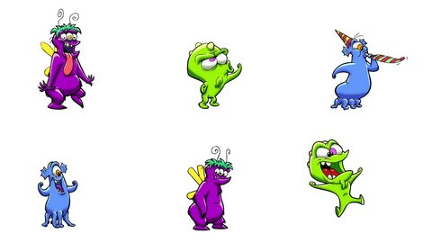 Monster celebrating. 6 in 1. Alpha matte. Classic animated monsters celebrating. More options in my portfolio.