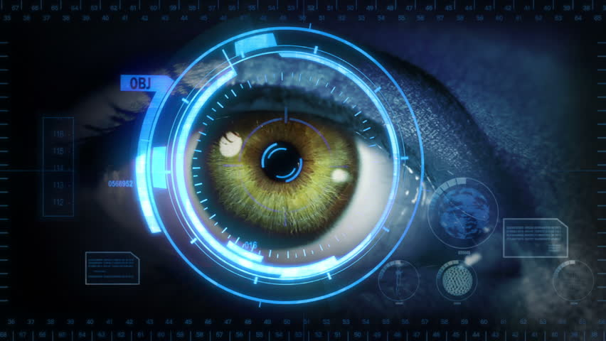 Human eye with futuristic interface. 2 in 1. Green. Blue skin. Loopable. Technology. Augmented reality. More options in my portfolio.