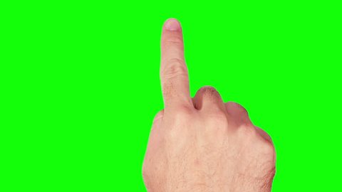 Set of 20 hand touchscreen gestures showing the uses of computer touchscreen, mobile phone, tablet or trackpad. Male hand. Green screen. Technology background. More options in my portfolio.