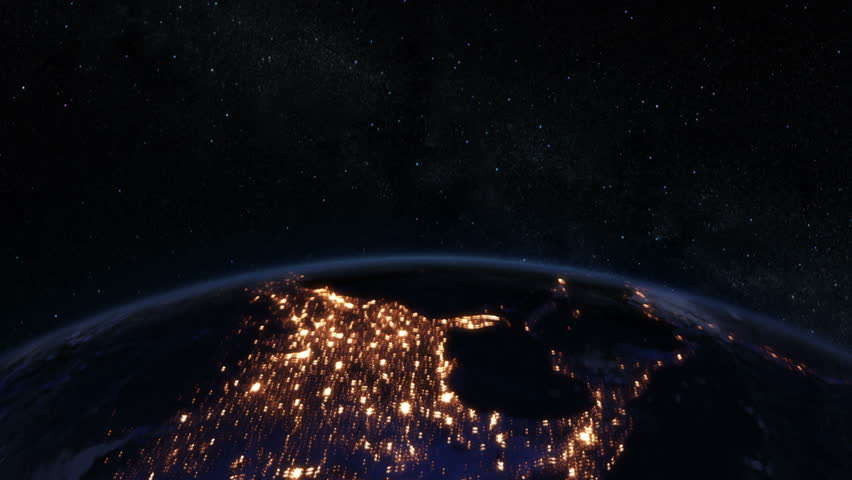 Stock Video Of Spinning Earth At Night Northern Hemisphere
