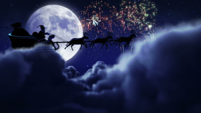 santa flying with fireworks over full moon 2 videos in 1 file santa claus - Halloween Background Video