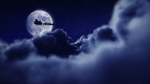 Santa Claus with his sleigh and reindeer flying over full moon. 2 videos in 1 file. More options in my portfolio.