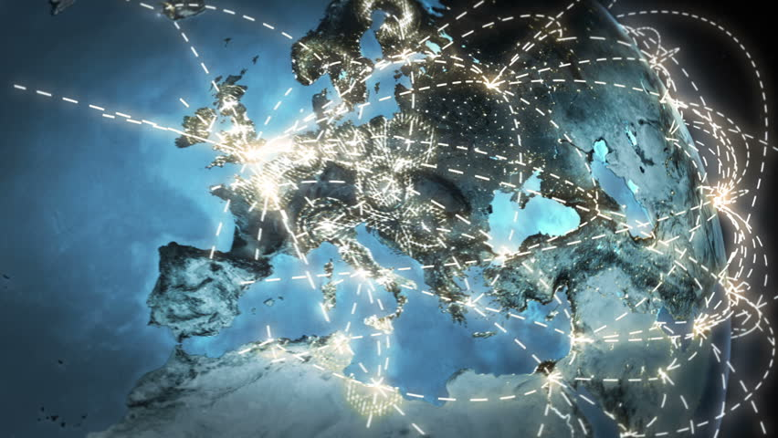 World connections with city lights. Gray. Earth globe. Spinning Earth with light lines growing from major cities all over the world. Loopable. Images courtesy of: NASA http://www.nasa.gov