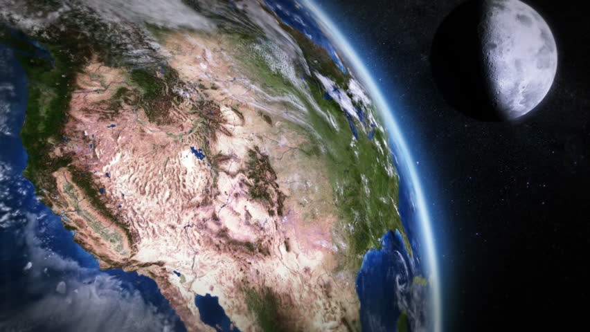 United States seen from space. 2 videos in 1 file. Highly detailed animation of the Earth seen from space. Earth map based on images courtesy of: NASA http://www.nasa.gov.