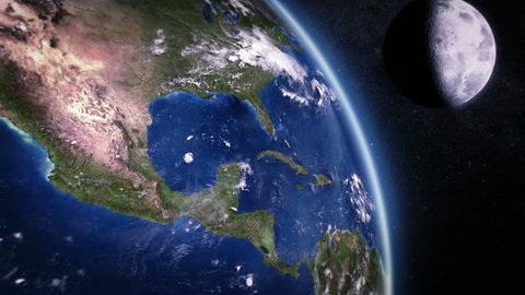 Central America seen from space. 3 videos in 1 file. Highly detailed animation of the Earth seen from space. Earth map based on images courtesy of: NASA http://www.nasa.gov.