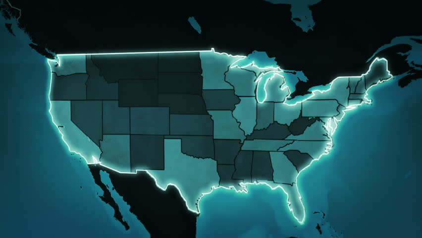 Background Of USA With IT Technology Seamless Loop Stock Footage - Hd us map background