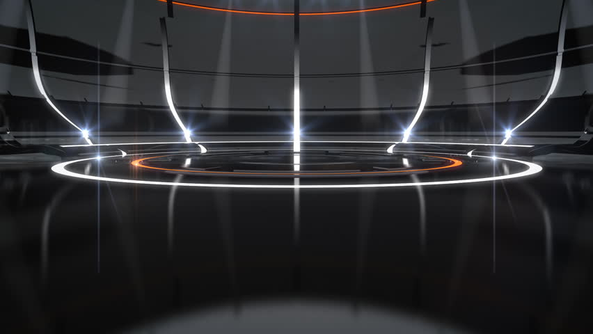 Dark, futuristic black background with orange/white neon lights.  Forward camera motion. The spotlights aim towards the center of the stage.