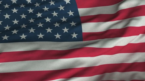 1cd2d55a722 Seamless looping 3D rendering closeup of the flag of the United States. Flag  has a