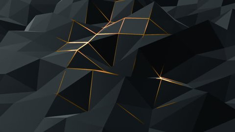 Abstract background with animation moving of dark triangles with glowing track of lava on their surfaces. Technologic backdrop with plastic surface with neon stripes. Animation of seamless loop.