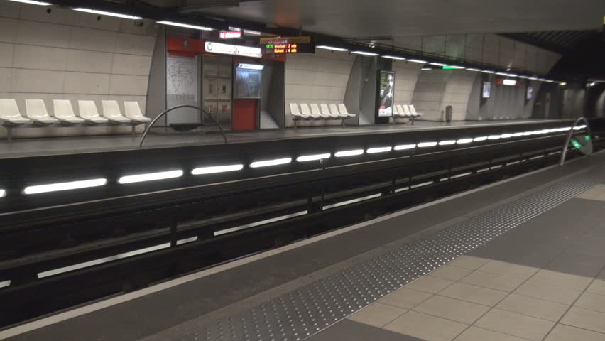 Lyon, France - September 18, 2015 Subway station, metro train in Lyon, France, train coming, commuting scene view | Shutterstock HD Video #11828789