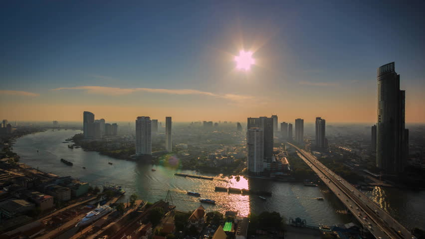 Time lapse view sunset of Bangkok City Thailand | Shutterstock HD Video #11836799