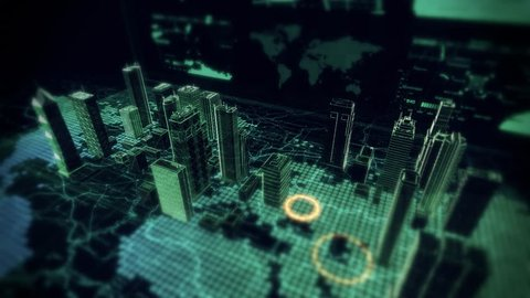 Cybernetic City Hologram Flyover displayed on top of Computer Laptop with Futuristic infographics and maps. 4K Resolution