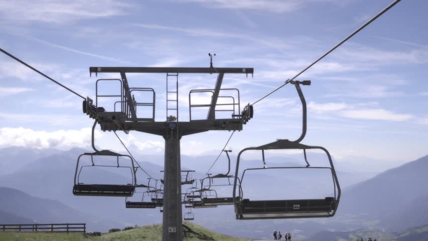 Beautiful Empty Chair Lift Chairlift Shot In Summer With Green Grass And Blue Sky For Design