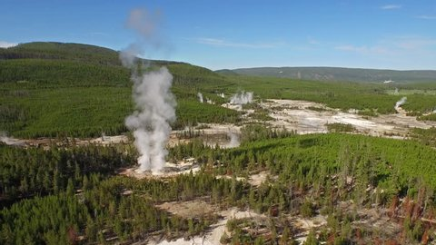 Aerial Video in Yellow Stone National Park. Wyoming.