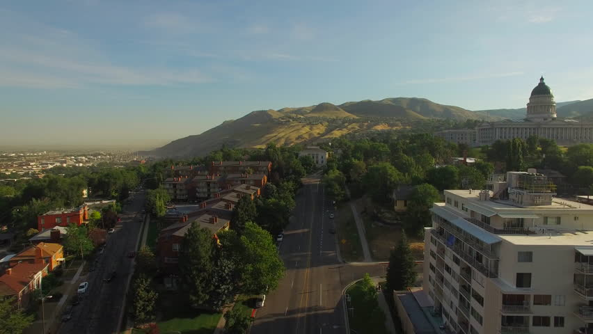 Aerial video of Salt Lake City, Utah. Capitol building and LDS Church.