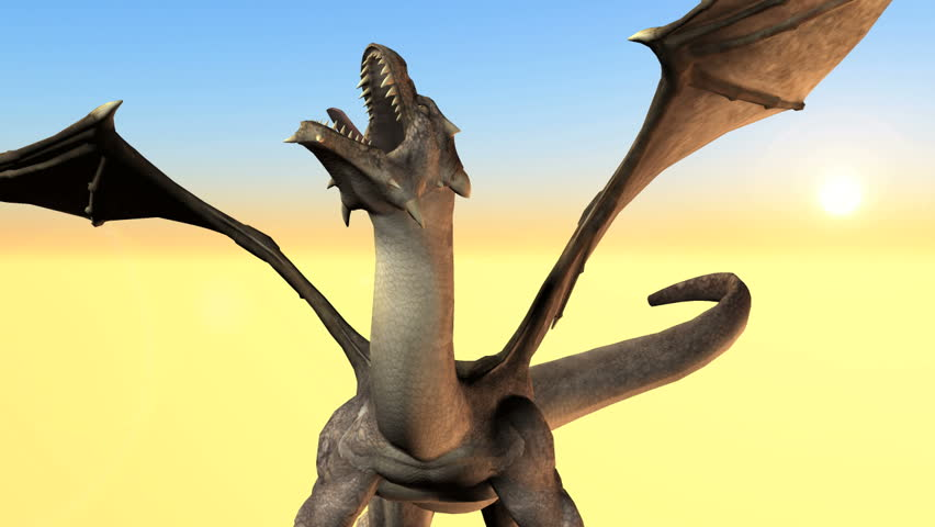 Storybook winged dragon HD animation set against a brightly colored sky and sandy background.