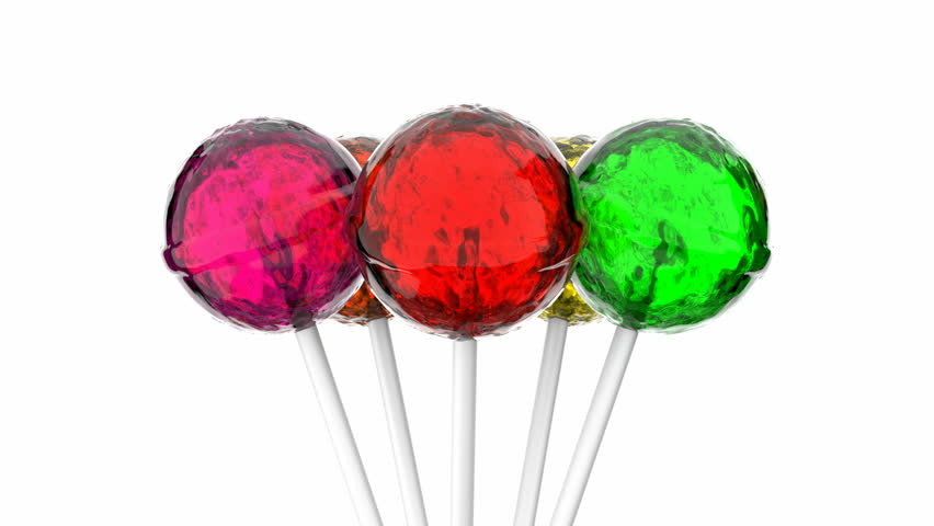 3D animation of colorful lollipops, alpha mask is included, loop-able