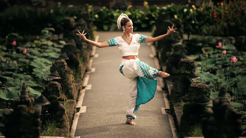 Series with dancing girl in front of a exotic backgrounds.