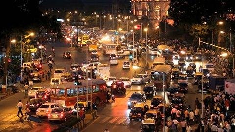 India - March 2015: Mumbai India Asia Chhatrapati Shivaji Terminus Victoria Terminus Maharashtra State CST night illuminated railway travel