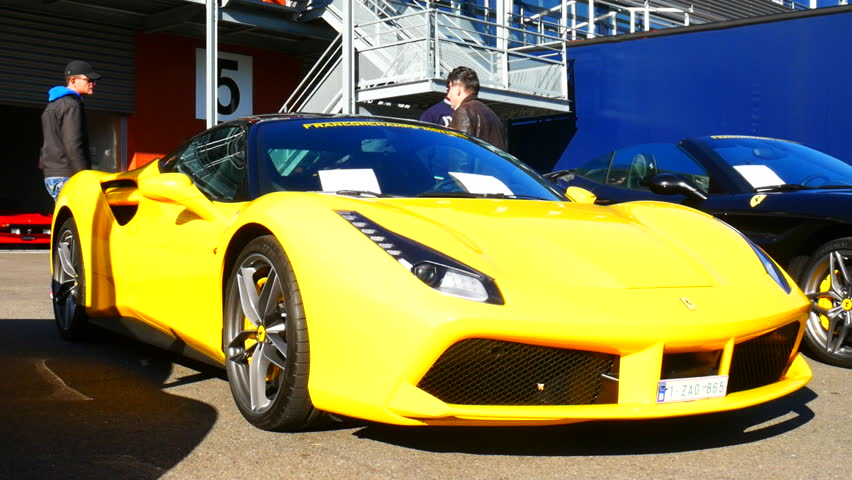 spa belgium september 27 2015 ferrari 488 gtb sports car on display - Ferrari 2014 Yellow