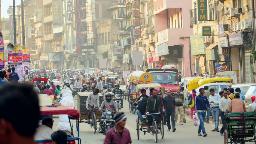 INDIA, JAN 2015: New Delhi, DB Gupta Road in Paharganj, January 2015: busy traffic and commuters