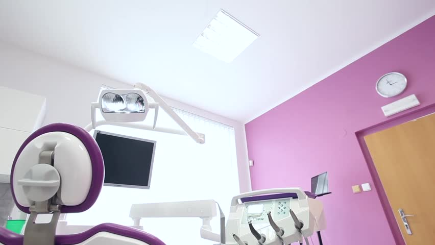 Dental Clinic Interior Design With Chair And Tools Stock Footage