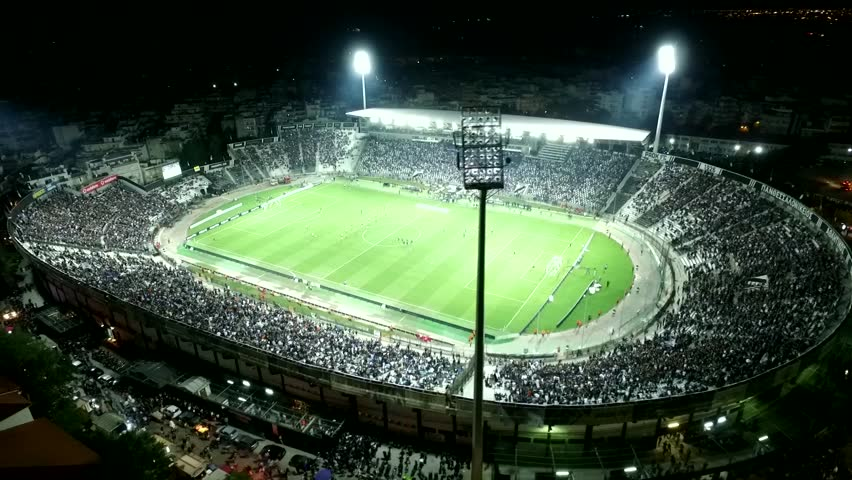 Thessaloniki, Greece, October 4 2015: Aerial flying by soot of the Toumba Stadium full of fans during a football match for the championship between teams PAOK vs Olympiacos
