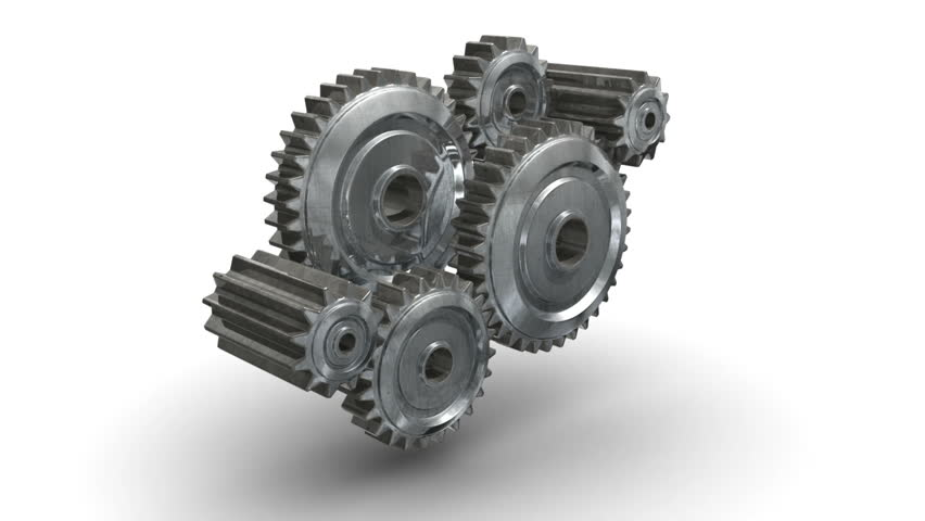 gears cogs and pinions isolated on white background loop-able