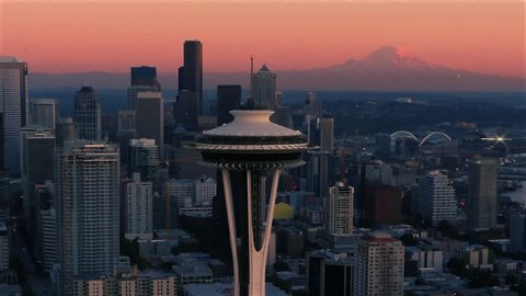 SEATTLE, WASHINGTON-SEPTEMBER 29, 2015 Aerial view of Space Needle with Mt Rainier in horizon.