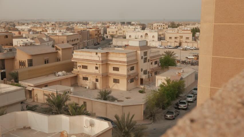 Middle East City View, Late Afternoon. Al Rakka, Saudi ...  Middle East Cit...