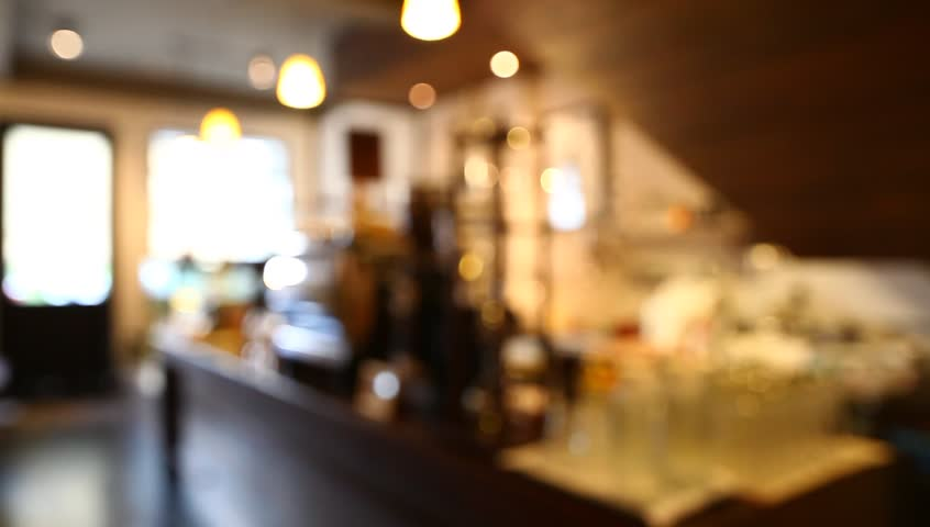 Restaurant Kitchen Background abstract blur shot of cafe or coffee shop interior with customer