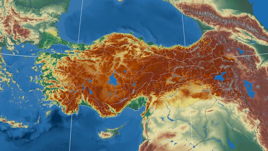Samsun Region Extruded On The Physical Map Of Turkey Rivers And