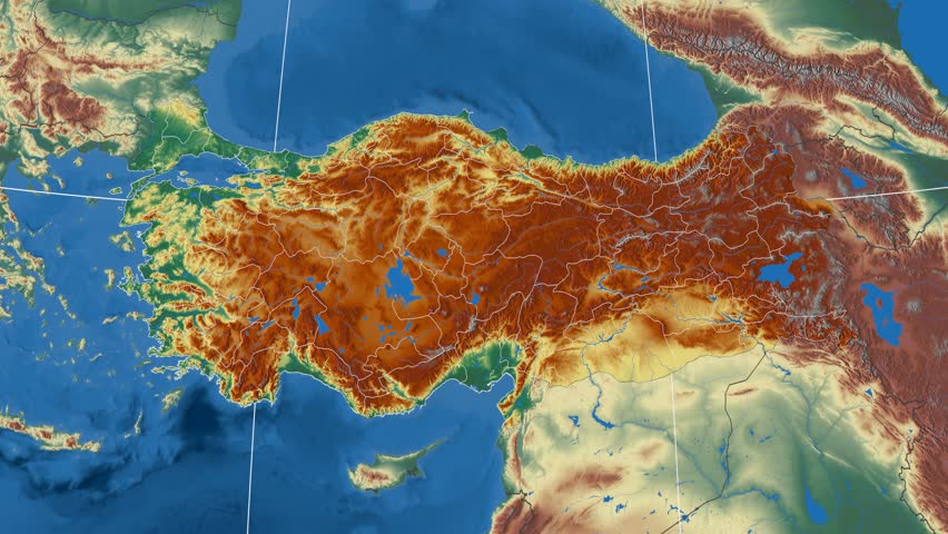 Aksaray Region Extruded On The Physical Map Of Turkey Rivers And