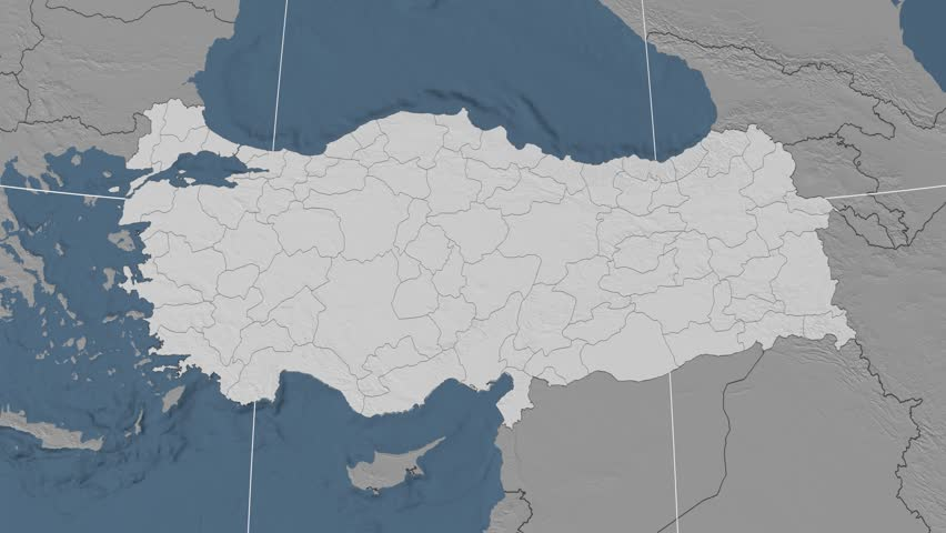 Gumushane Region Extruded On The Elevation Map Of Turkey Elevation