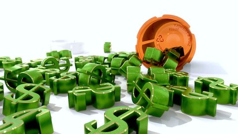 Cost of Healthcare - dollar signs spilling out of a pill bottle, symbolically referencing healthcare costs