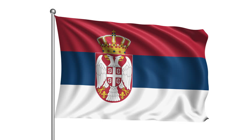 Detailed 3D Rendering Closeup Of The Flag Of Serbia. Flag Has ...