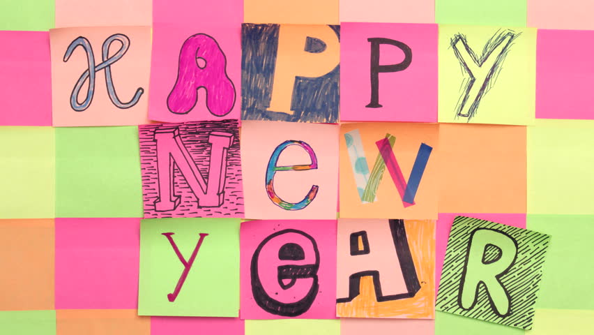 Happy new year colorful hand drawn typographic royalty free video m4hsunfo