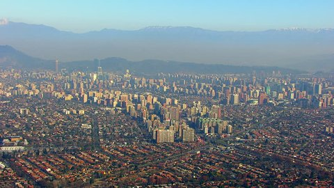 WS AERIAL View of urban areas and shanty towns / Santiago, Central Valley, Chile