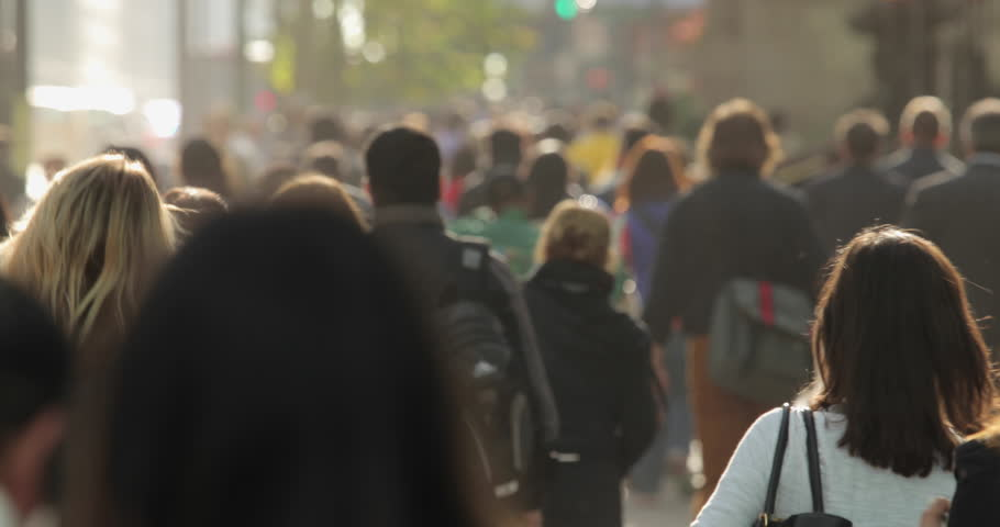NEW YORK - CIRCA OCTOBER 2015: Crowd of commuter people walking street in the morning | Shutterstock HD Video #12221714
